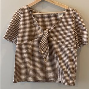 Sezane brown checkered top
